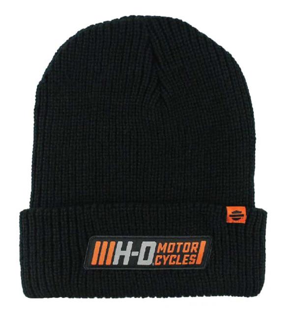 Harley-Davidson Men's Traction Woven Rib Knit Cuffed Beanie Cap, Black KN31530 - Wisconsin Harley-Davidson