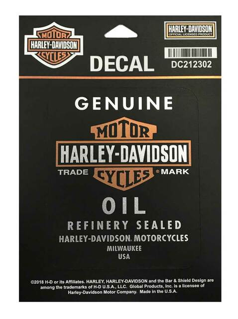 Harley-Davidson Genuine Oil Matte Black Decal, SM Size, 3.5 x 4.125 in. DC212302 - Wisconsin Harley-Davidson