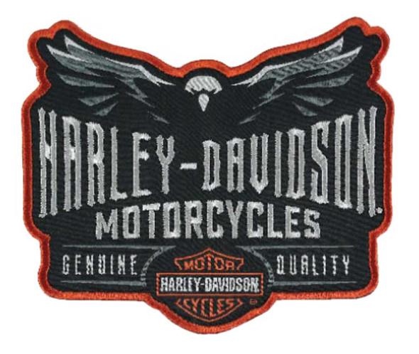 """Harley-Davidson Embroidered Velocity Eagle Emblem Patch, 4"""" x 3.5"""" in EM326642 - Wisconsin Harley-Davidson"""