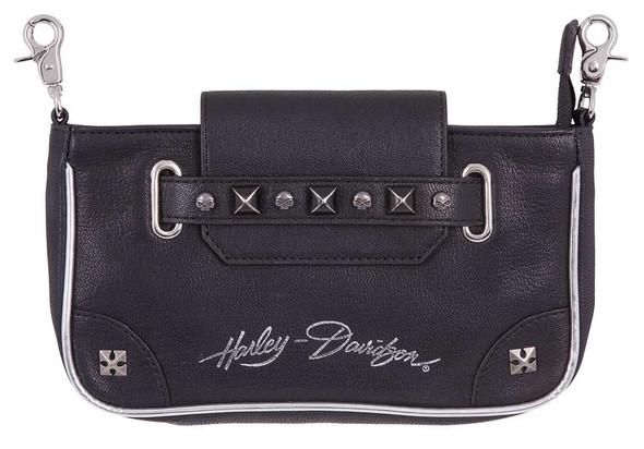 Harley-Davidson Women's Studded Grip Pouch Leather Hip Bag, HDWBA11351-BLK - Wisconsin Harley-Davidson