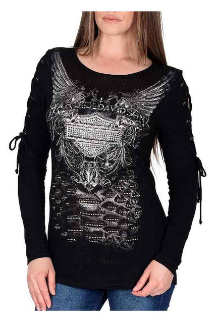Harley-Davidson Women's Esoteric Truth Embellished Lace-Up Long Sleeve Top - Wisconsin Harley-Davidson