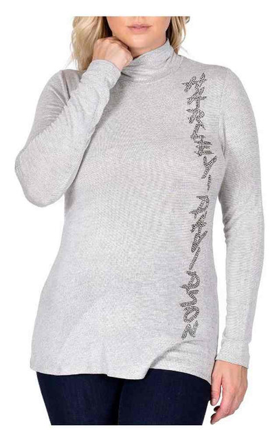 Harley-Davidson Women's Guardian Embellished Long Sleeve Mock Neck Top, Gray - Wisconsin Harley-Davidson