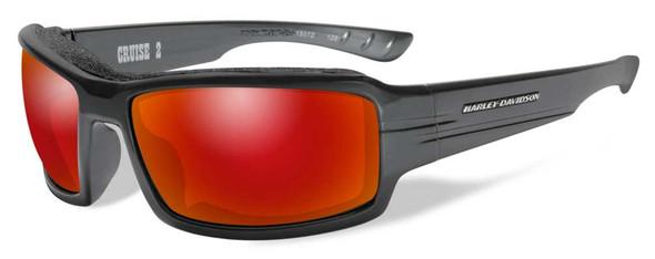 Harley-Davidson Men's Cruise2 Sunglasses, Red Mirror Lens/Gloss Black HACRS11 - Wisconsin Harley-Davidson