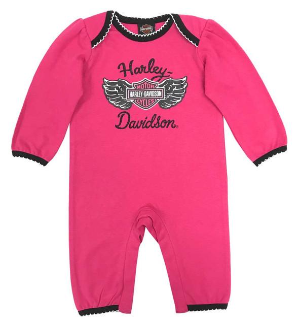 Harley-Davidson Baby Girls' Glittery B&S Interlock Coveralls, Pink 3003855 - Wisconsin Harley-Davidson