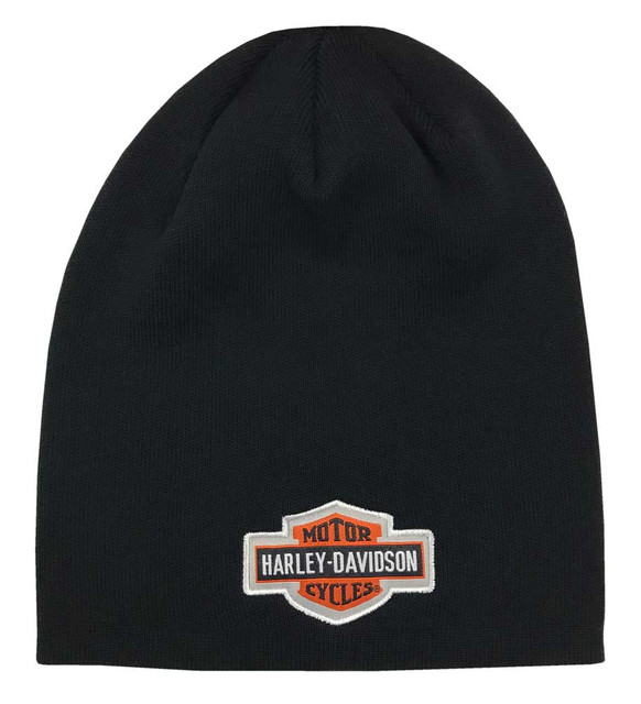 Harley-Davidson Little Boys' B&S Logo Slouchy Knit Beanie Hat, Black 7283843 - Wisconsin Harley-Davidson