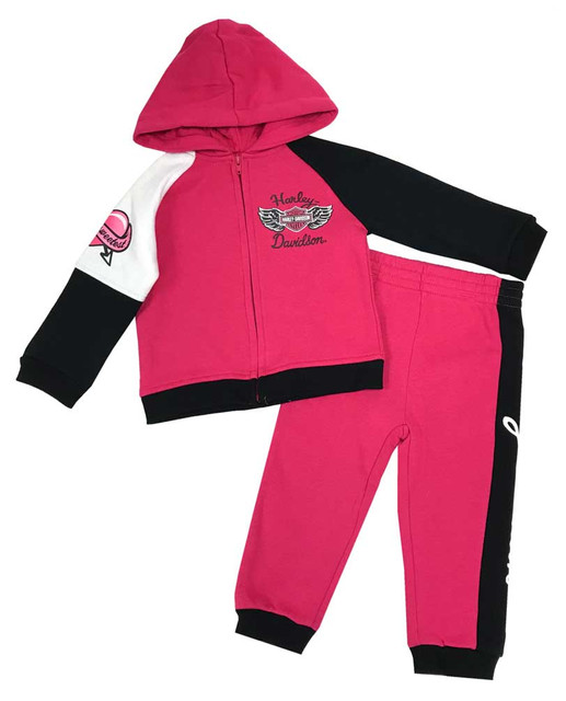 Harley-Davidson Little Girls' 2-Piece Fleece Jogger Set, Pink & Black 2023827 - Wisconsin Harley-Davidson