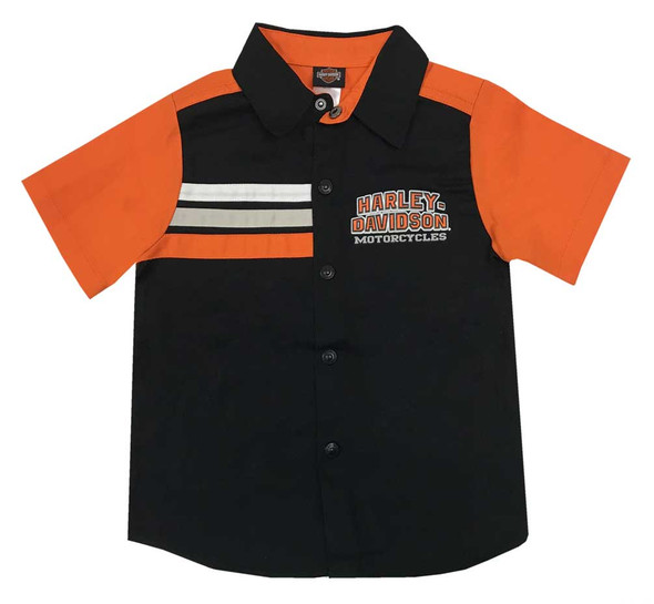 Harley-Davidson Little Boys' Short Sleeve Woven Shop Shirt, Black 1083865 - Wisconsin Harley-Davidson