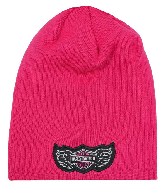 Harley-Davidson Little Girls' B&S Logo Slouchy Knit Beanie Hat, Pink 7223837 - Wisconsin Harley-Davidson