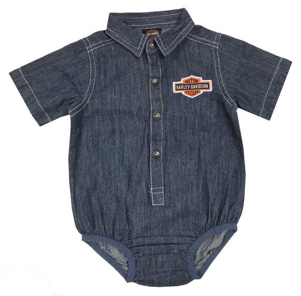 Harley-Davidson Baby Boys' Woven B&S Denim Short Sleeve Creeper, Blue 3053807 - Wisconsin Harley-Davidson