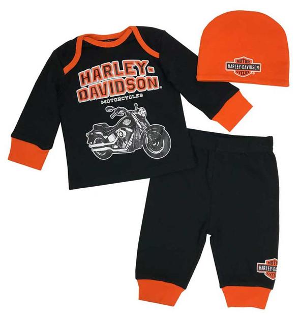 Harley-Davidson Baby Boys' H-D 3 Piece Infant Gift Set w/ Gift Bag 2553801 - Wisconsin Harley-Davidson