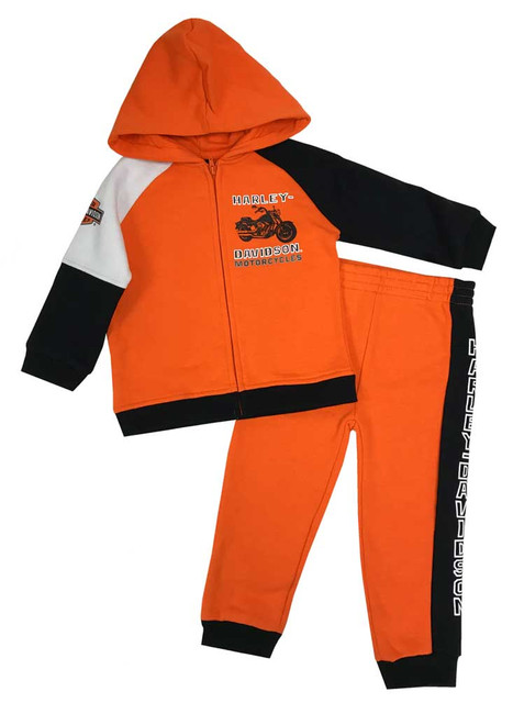 Harley-Davidson Baby Boys' 2-Piece Fleece Jogger Set, Orange & Black 2063811 - Wisconsin Harley-Davidson