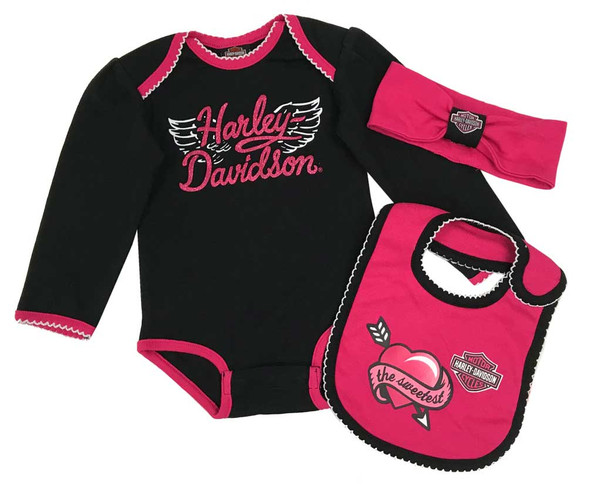 Harley-Davidson Baby Girls' 3-Piece Newborn Creeper, Headband & Bib Set 2503821 - Wisconsin Harley-Davidson