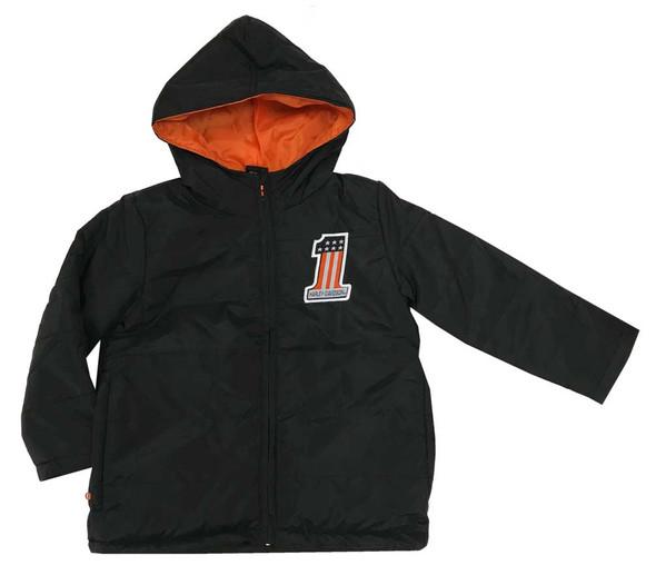 Harley-Davidson Little Boys' Packable Pocket Puffer Jacket, Black 6083867 - Wisconsin Harley-Davidson