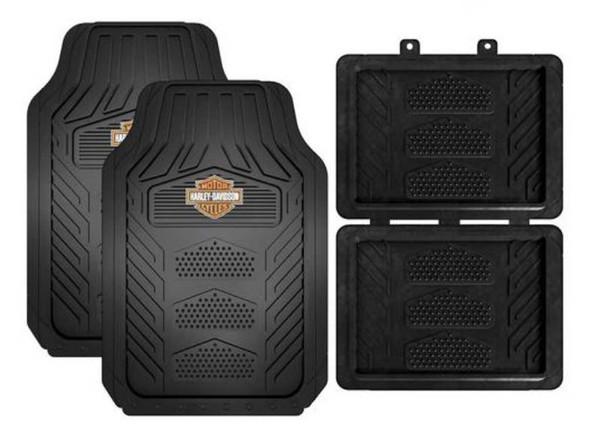 Harley-Davidson Weatherpro 4 Piece Rubber Floor Mats, Universal-Fit 1671 - Wisconsin Harley-Davidson
