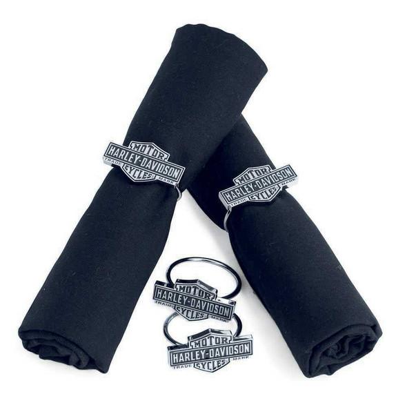 Harley-Davidson Bar & Shield Napkin Rings. Set of 4 Silver/Black. 96811-14V - Wisconsin Harley-Davidson