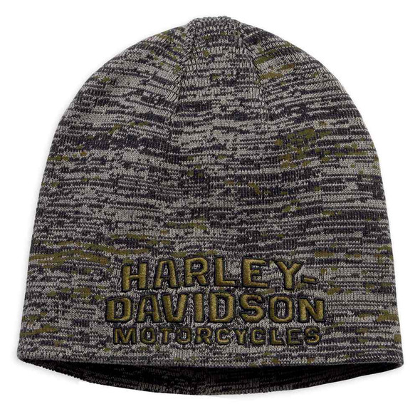 Harley-Davidson Men's Embroidered Marled Knit Beanie Hat, Major Brown 97771-19VM - Wisconsin Harley-Davidson