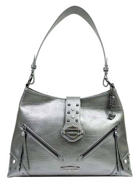 Harley-Davidson Women's Pearlized Leather Bucket Purse, Charcoal PL8016L-CHAR - Wisconsin Harley-Davidson