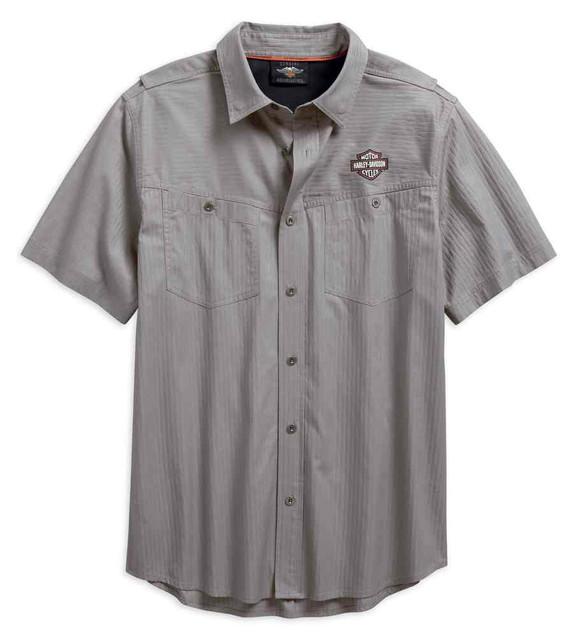 Harley-Davidson Men's Performance Vented Textured Woven Shirt, Gray 96547-19VM - Wisconsin Harley-Davidson
