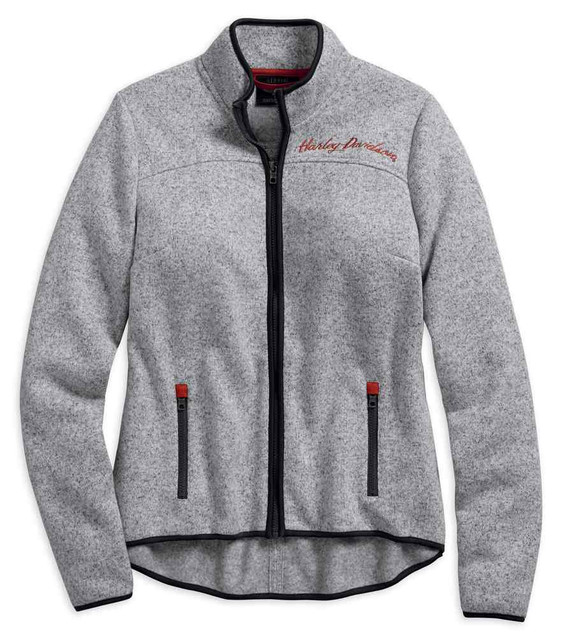 Harley-Davidson Women's Embroidered Sweater Fleece Casual Jacket 96344-19VW - Wisconsin Harley-Davidson