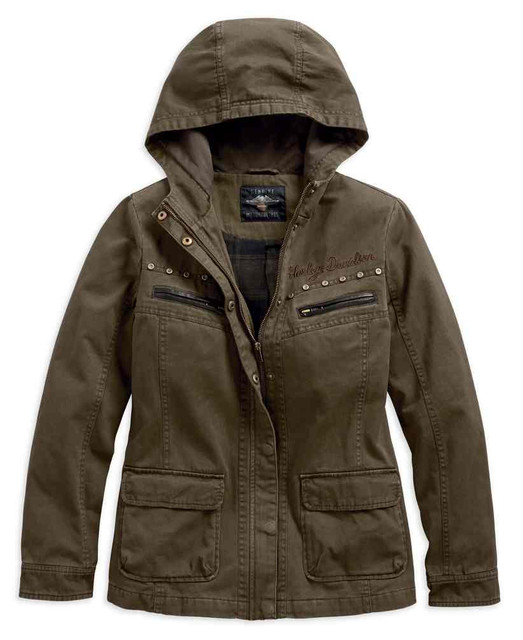 Harley-Davidson Women's Rugged Over-Dyed Hooded Casual Jacket 97478-19VW - Wisconsin Harley-Davidson