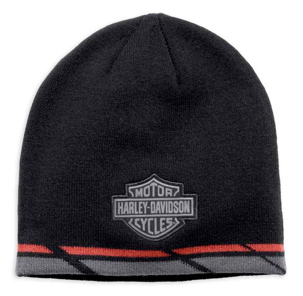 Harley-Davidson Men's B&S Dual Stripe Knit Beanie Hat, Black 97777-19VM - Wisconsin Harley-Davidson