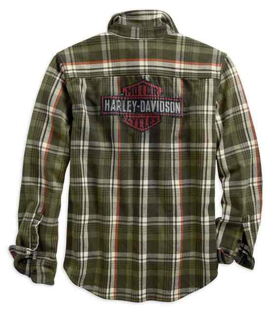 Harley-Davidson Men's Logo Flannel Plaid Slim Fit Shirt, Green 96513-19VM - Wisconsin Harley-Davidson