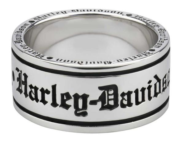 Harley-Davidson Men's Old English Script Band Ring, Sterling Silver HDR0481 - Wisconsin Harley-Davidson