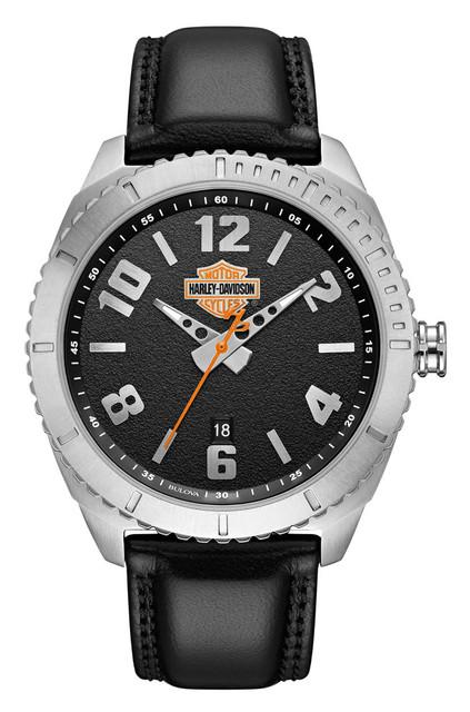 Harley-Davidson Men's B&S Grained Leather & Stainless Steel Watch 76B181 - Wisconsin Harley-Davidson