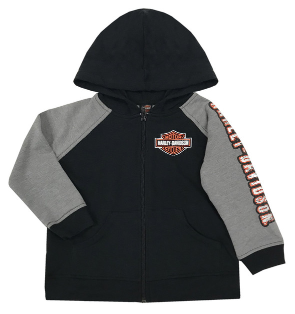 Harley-Davidson Big Boys' French Terry Full Zip Hooded Sweatshirt, Black 6790861 - Wisconsin Harley-Davidson