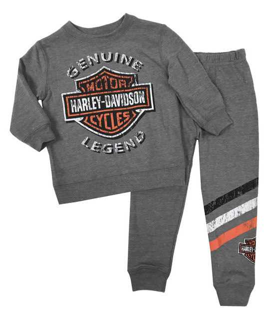 Harley-Davidson Little Boys' 2-Piece French Terry Jogger Set, Gray 2070896 - Wisconsin Harley-Davidson