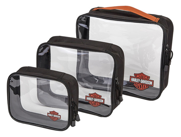 Harley-Davidson Clear Zippered Packing Cubes - Set of 3, 99663-RUST/CLEAR - Wisconsin Harley-Davidson