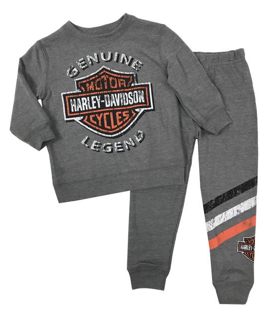 Harley-Davidson Baby Boys' 2-Piece French Terry Jogger Set, Gray 2060896 - Wisconsin Harley-Davidson