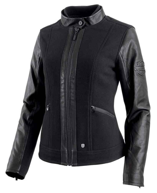 Harley-Davidson Women's Wool Blend Leather Accent Casual Jacket 97483-19VW - Wisconsin Harley-Davidson
