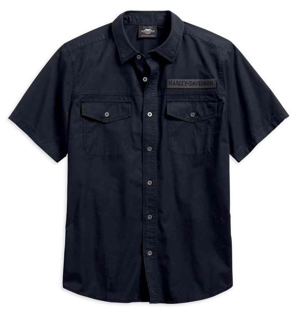 Harley-Davidson Men's Winged Skull Short Sleeve Woven Shirt, Black 96579-19VM - Wisconsin Harley-Davidson