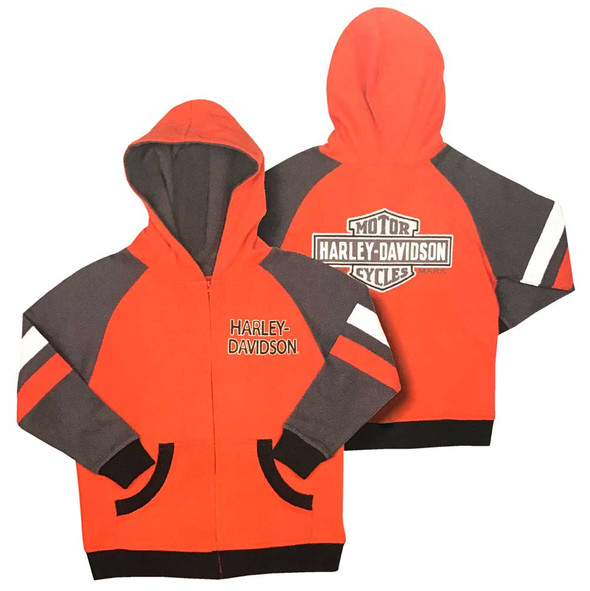 Harley-Davidson Little Boys' Colorblocked B&S Zipper Hoodie, Orange 6581703 - Wisconsin Harley-Davidson