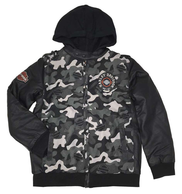 Harley-Davidson Big Boys Fully Lined Printed Canvas Bomber Jacket, Camo 6093539 - Wisconsin Harley-Davidson