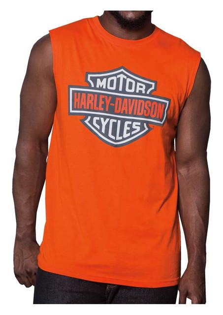 Harley-Davidson Men's Bright Bar & Shield Sleeveless Muscle Tank - Orange - Wisconsin Harley-Davidson