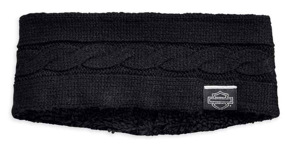 Harley-Davidson Women's Cable Knit Ear Warmer w/ Sherpa Fleece Lining 97741-19VW - Wisconsin Harley-Davidson