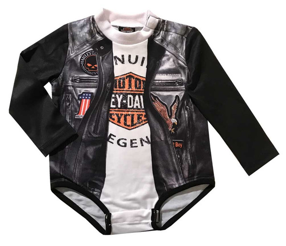 Harley-Davidson Baby Boys' Biker Knit Long Sleeve Newborn Creeper, Black 3054801 - Wisconsin Harley-Davidson