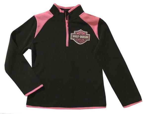 Harley-Davidson Big Girls' Embroidered 1/4-Zip Pullover Fleece, Black & Pink - Wisconsin Harley-Davidson