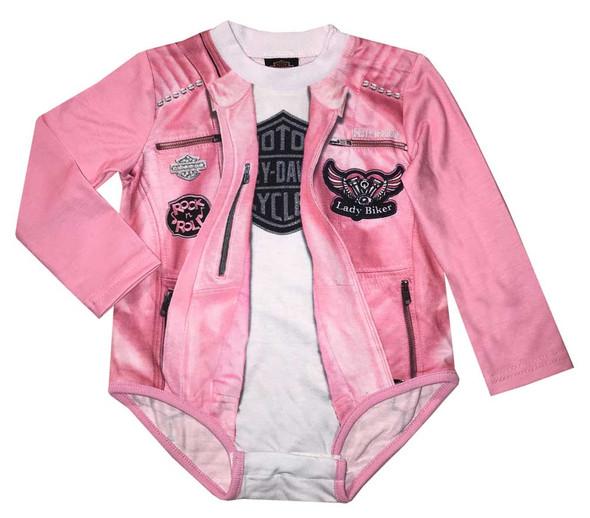 Harley-Davidson Baby Girls' Biker Knit Long Sleeve Newborn Creeper, Pink 3004809 - Wisconsin Harley-Davidson