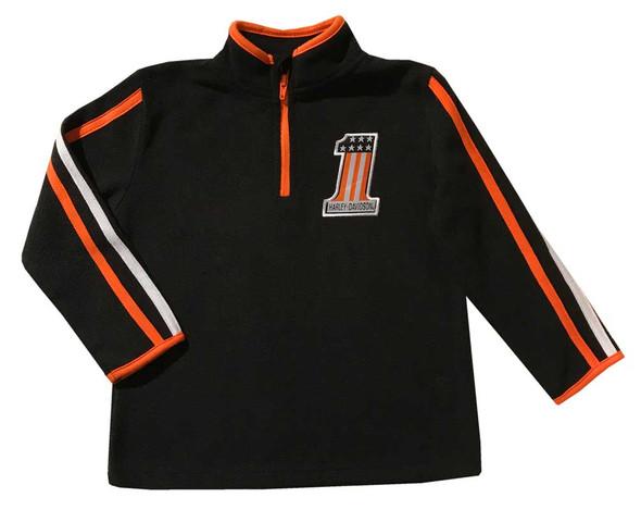 Harley-Davidson Little Boys' Embroidered Polar Fleece 1/4 -Zip, Black 6574825 - Wisconsin Harley-Davidson