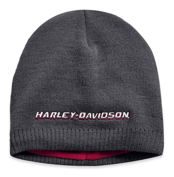 Harley-Davidson Men's Embroidered Fleece Lined Knit Beanie Hat, BLK 97810-19VM - Wisconsin Harley-Davidson