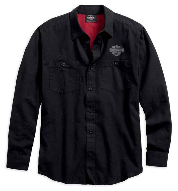 Harley-Davidson Mens Cotton Linen Blend Button-Down Long Sleeve Shirt 96590-19VM - Wisconsin Harley-Davidson