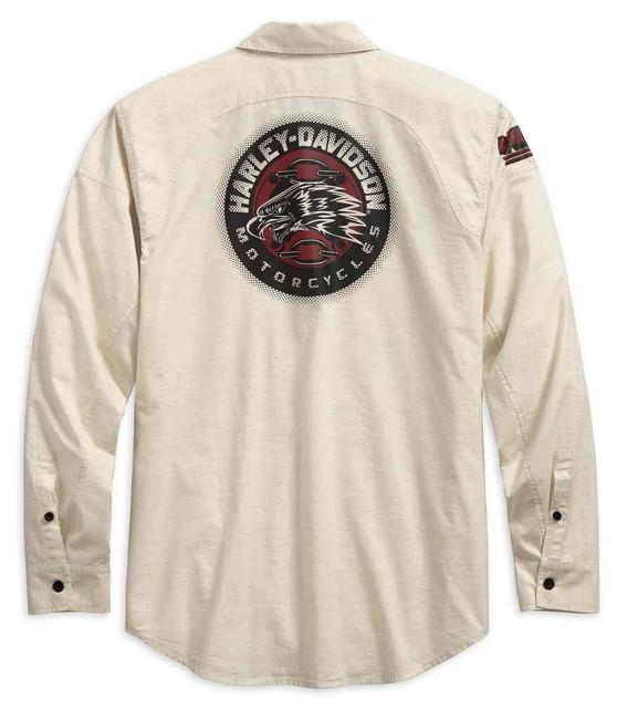 Harley-Davidson Men's Eagle Profile Button-Down Long Sleeve Shirt 96591-19VM - Wisconsin Harley-Davidson
