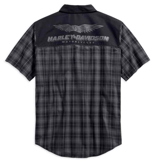 Harley-Davidson Men's Contrast Yoke Plaid Short Sleeve Shirt 96594-19VM - Wisconsin Harley-Davidson
