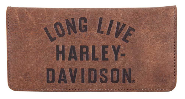 Harley-Davidson Men's Long Live Leather Trucker Wallet w/ RFID HDMWA11555-BRN - Wisconsin Harley-Davidson