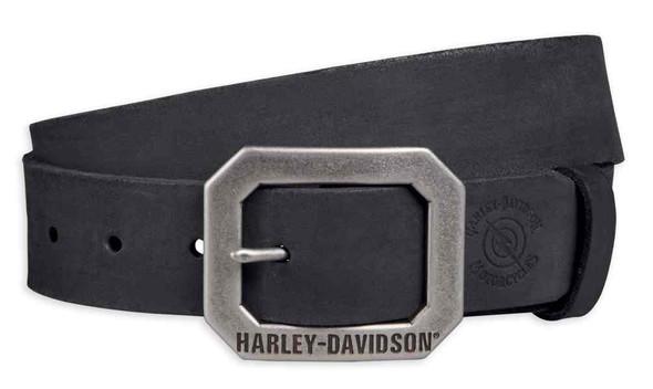 Harley-Davidson Men's Lightning Bolt Distressed Leather Belt, Black 97703-18VM - Wisconsin Harley-Davidson