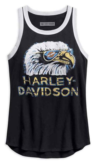 Harley-Davidson Women's Retro Eagle Sleeveless Tank Top, Black 96240-18VW - Wisconsin Harley-Davidson