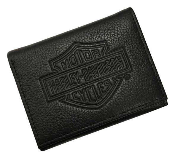 Harley-Davidson Men's B&S Embossed Tri-Fold Leather Wallet, Black MSB8352-BLACK - Wisconsin Harley-Davidson
